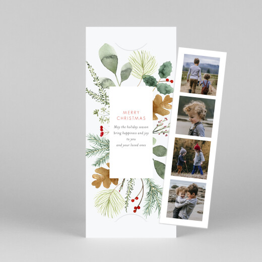 Christmas Cards Watercolour foliage (bookmark) white - View 1