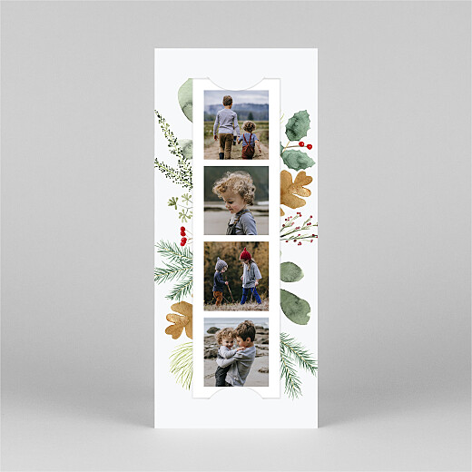 Christmas Cards Watercolour foliage (bookmark) white - View 2
