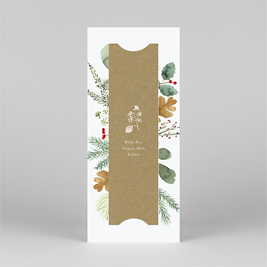Christmas Cards Watercolour foliage (bookmark) white - View 3