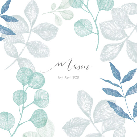 Baby Announcements Midnight foliage blue