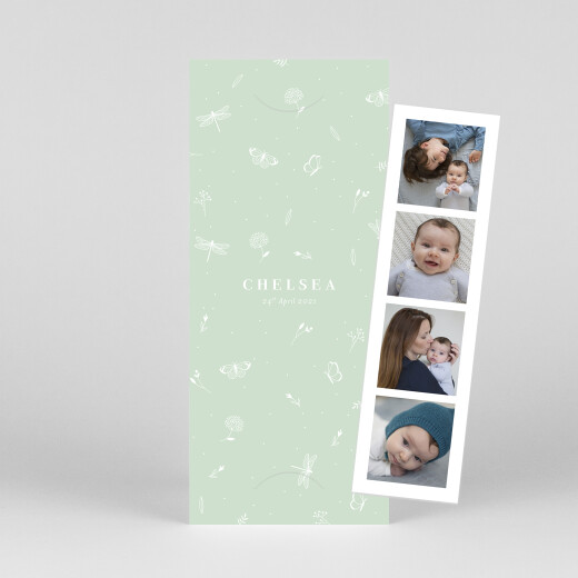 Baby Announcements Elegant butterfly (bookmark) green - View 1
