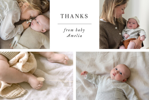 Baby Thank You Cards Sweet moments (5 photos) white