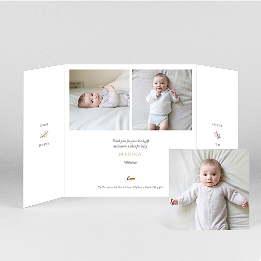 Baby Thank You Cards Sweet dreams (gatefold) pink - View 2