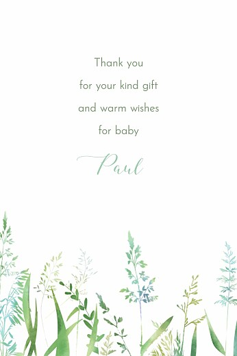 Baby Thank You Cards Country meadow green - Page 2