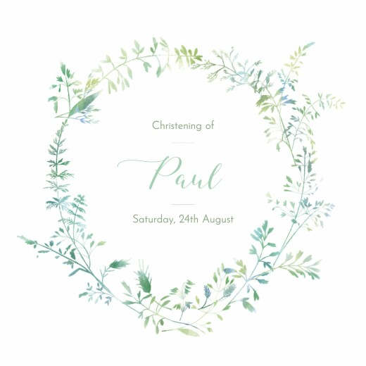 Christening Invitations Country meadow green