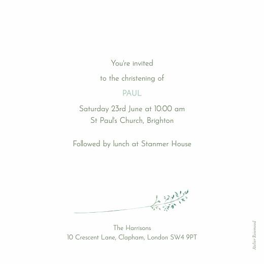 Christening Invitations Country meadow green - Page 2