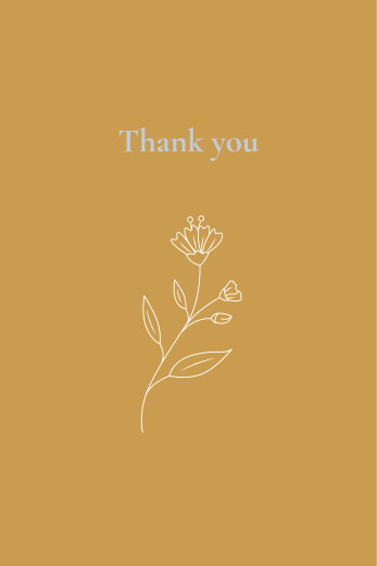 Baby Thank You Cards Floral emblem yellow