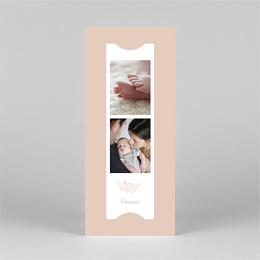 Baby Announcements Floral emblem (bookmark) pink - View 2