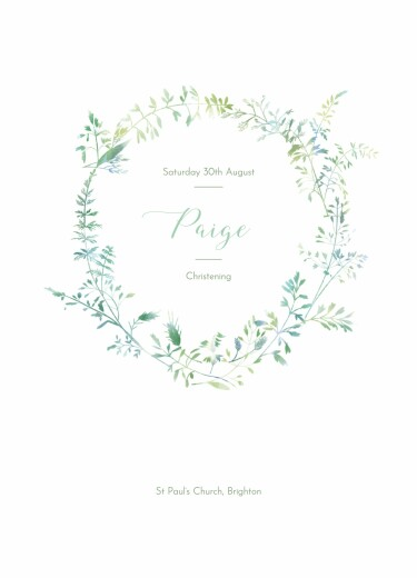 Christening Order of Service Booklets Country meadow green