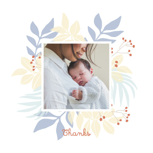 Baby Thank You Cards Budding border blue