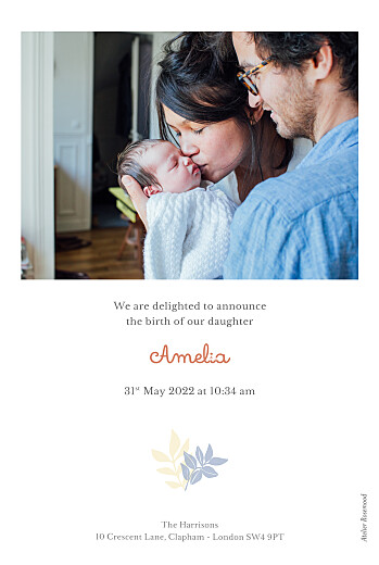 Baby Announcements Budding border blue - Page 2