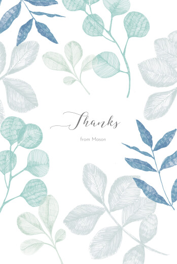 Baby Thank You Cards Midnight foliage 4 pages (portrait) blue