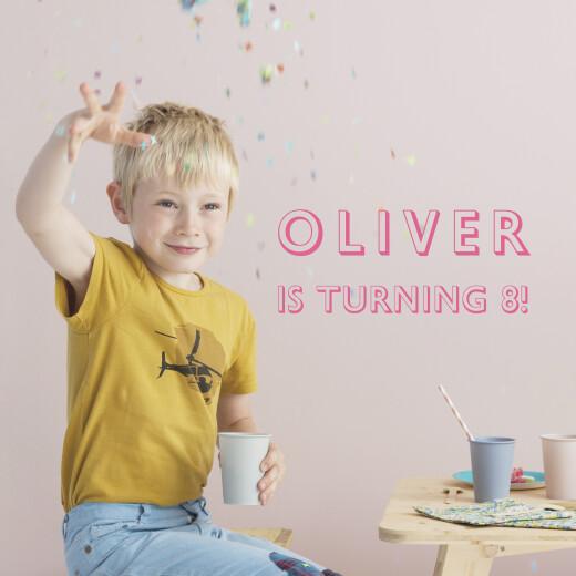儿童派对邀请函的照片粉红色