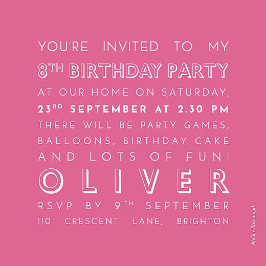 儿童派对邀请函的照片粉红色 - 第2页