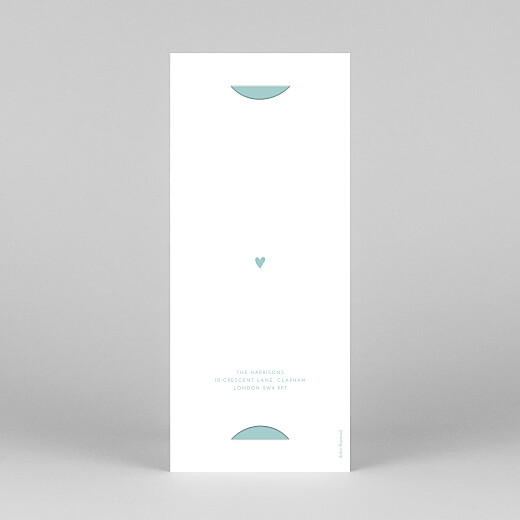 Christening Invitations Elegant heart (bookmark) blue - View 4