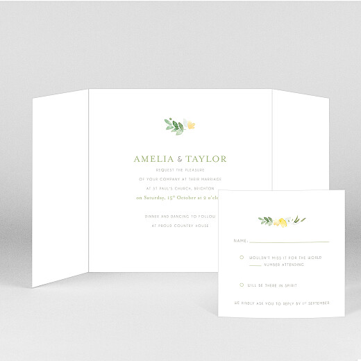 Wedding Invitations English garden gatefold green - View 2