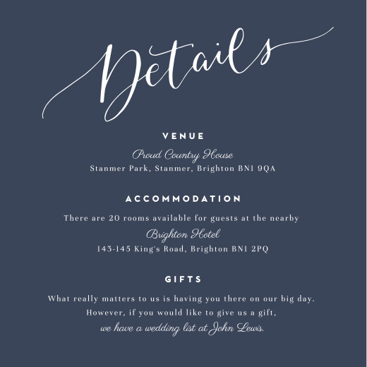 Guest Information Cards Swing navy blue