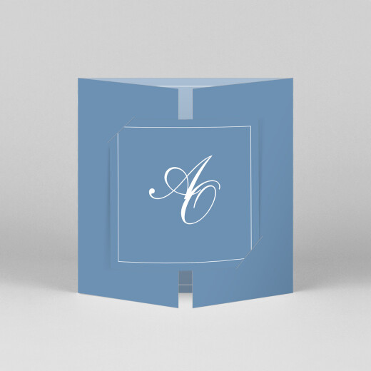 Wedding Invitations Chic border (gatefold) blue - View 1