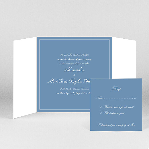 Wedding Invitations Chic border (gatefold) blue - View 2