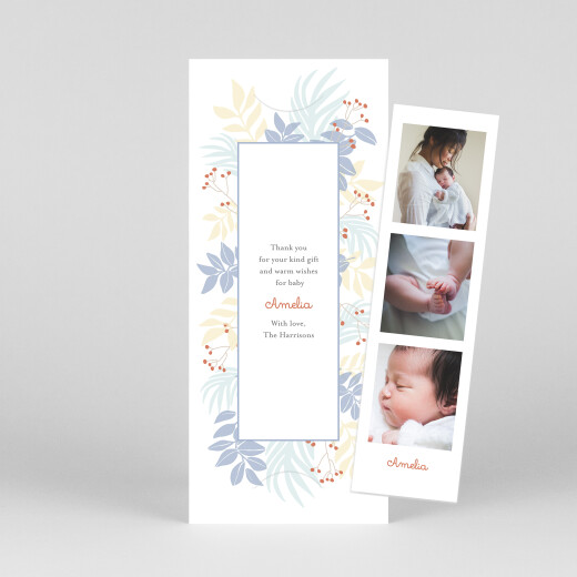 Baby Thank You Cards Budding border (bookmark) blue - View 1
