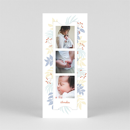 Baby Thank You Cards Budding border (bookmark) blue - View 2