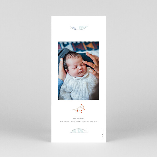 Baby Thank You Cards Budding border (bookmark) blue - View 4