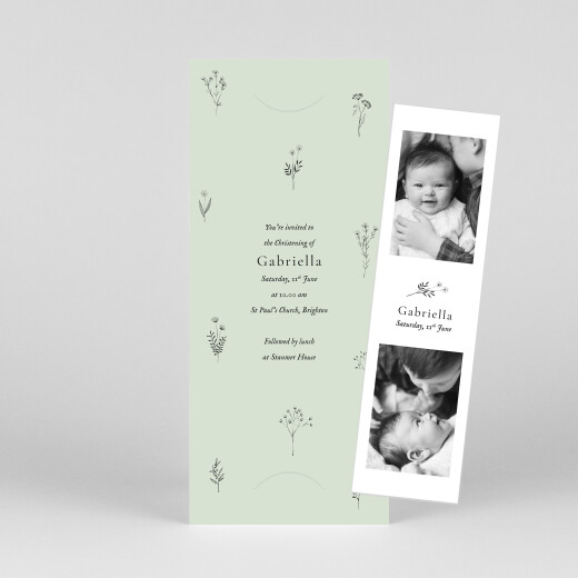 Christening Invitations Floral minimalist (bookmark) green - View 1