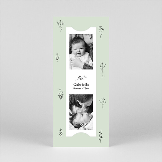 Christening Invitations Floral minimalist (bookmark) green - View 2