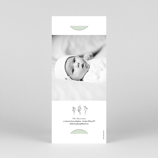 Christening Invitations Floral minimalist (bookmark) green - View 4