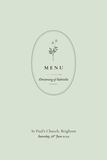Christening Menus Floral minimalist green