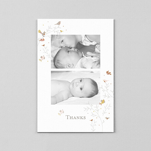 Baby Thank You Cards Birds of a feather (vellum) pink - View 2