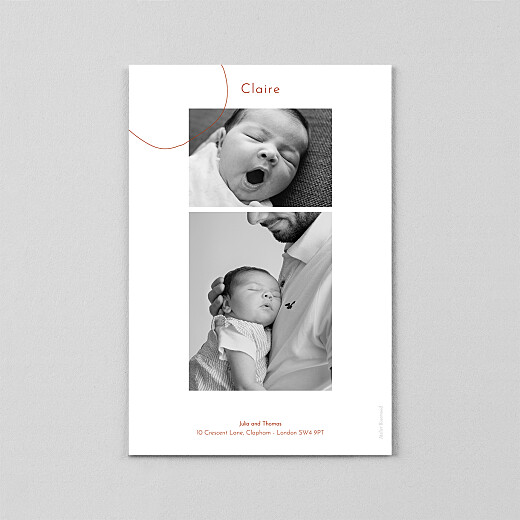 Baby Thank You Cards Orbit (vellum) red - View 3