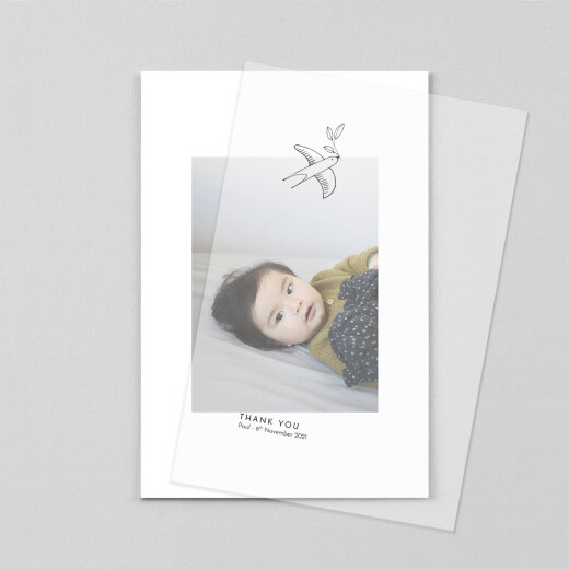 Baby Thank You Cards Unity (vellum) portrait white - View 1