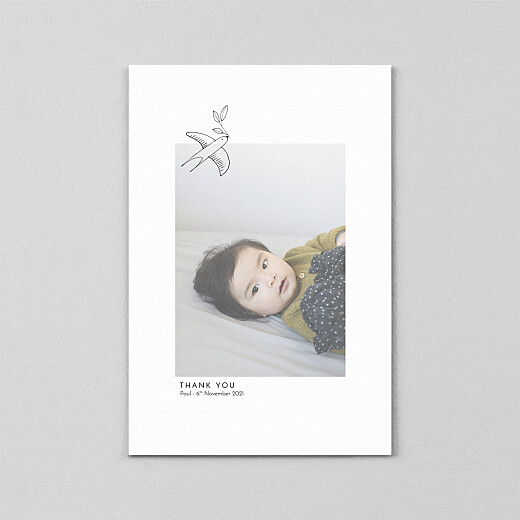 Baby Thank You Cards Unity (vellum) portrait white - View 2
