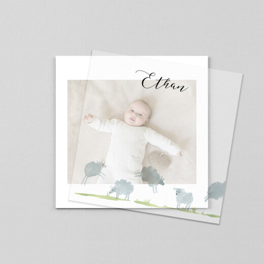 Baby Thank You Cards Counting sheep (vellum) white - View 1
