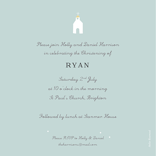 Christening Invitations Village chapel blue - Page 2