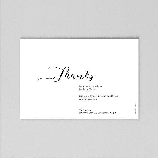 Baby Thank You Cards Cherished (vellum) landscape white - View 3
