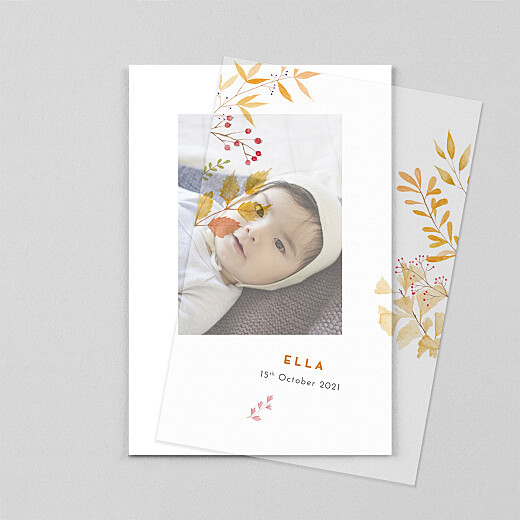 Baby Thank You Cards Four seasons (vellum) autumn - View 1