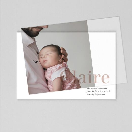 婴儿感谢卡名称(牛皮纸)白色的背后 - 视图1