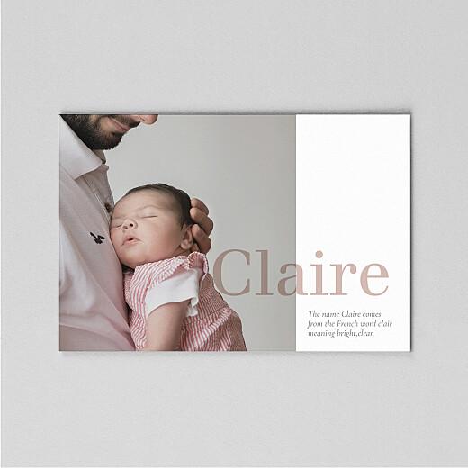 婴儿感谢卡名称(牛皮纸)白色的背后 - 视图2