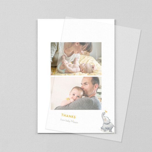 Baby Thank You Cards Baby elephant (vellum) yellow - View 1