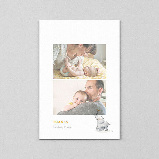Baby Thank You Cards Baby elephant (vellum) yellow - View 2