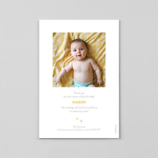 Baby Thank You Cards Baby elephant (vellum) yellow - View 3