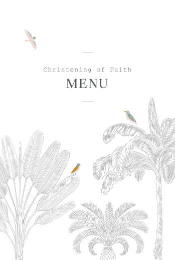 Christening Menus Birds of paradise black