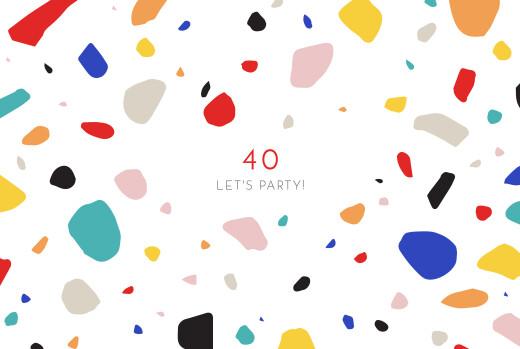 Birthday Invitations Terrazzo white