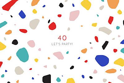 Birthday Invitations Terrazzo white finition