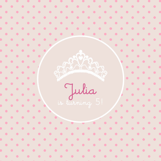 Kids Party Invitations Tiara pink