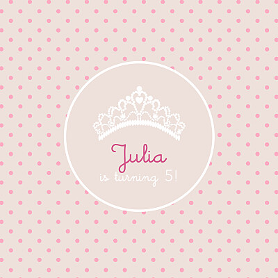 Kids Party Invitations Tiara pink finition