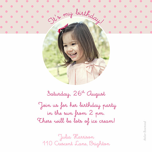 Kids Party Invitations Tiara pink - Page 2
