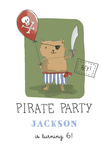 Kids Party Invitations Pirate party green